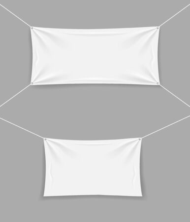White blank mockup banner with rope and folds. Template textile hanging flag for sale. Empty stretched fabric, canvas, horizontal cloth on isolated background. Realistic banner for text. vector eps10