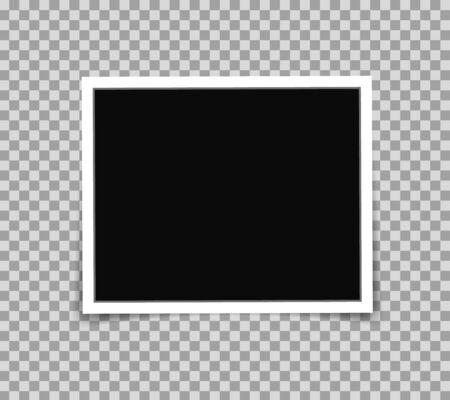 Cuadro de marco de fotos blanco en estilo maqueta. Plantilla de marco de fotos sobre fondo transparente para fotografía, álbum de recortes, recuerdos. Imagen de foto de papel de plantilla con lugar vacío. ilustración vectorial eps10