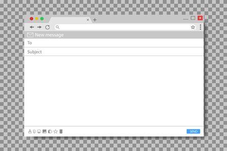 E-Mail-Nachrichtenvorlage. Mockup leeres Mail-Bildschirmfenster. Browser-Schnittstelle mit Mailbox-Sendeformular. Flache E-Mail-Seite für Nachricht. Leeres UI-Design. Frame-Schnittstelle für Website. Isolierter Vektor
