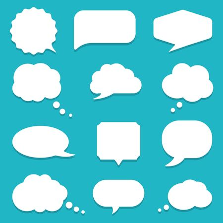 Set of speech bubble, textbox cloud of chat for comment, post, comic. Dialog box icon, message template. Different shape of empty balloons for talk on isolated background. cartoon vector illustration  イラスト・ベクター素材