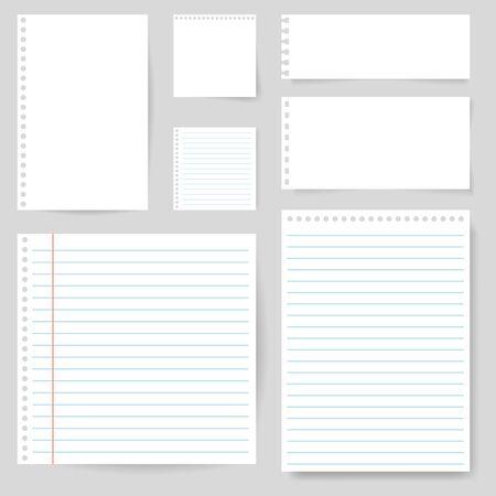 Satz Papierleerer mit Linie für Anmerkung, Post, shcool. Zerrissenes Blatt Papierseite. Quadratisches und liniertes Papier zur Benachrichtigung, Notiz schreiben, Text. Leeres zerrissenes Briefpapier auf isoliertem Hintergrund. Vektor-eps10