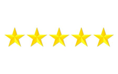 Quality stars rating. Customer review with gold star icon. 5 stars assessment of customer in flat style. Feedback concept. Quality rank. Appraisal, level rank. Positive review. vector isolated eps10