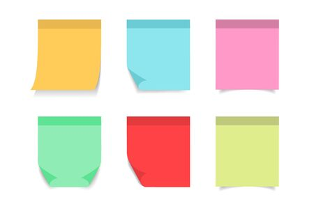 Paper sticky post note with red, blue, orange, yellow, pink color. Memo sticker for notepad, board, advertising. Attached paper sheet blank. Post note sticker on isolated background. vector isolated Фото со стока - 138731515