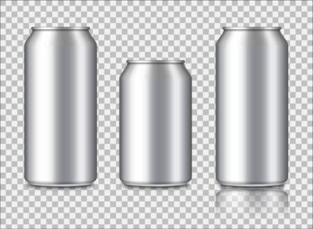 Aluminium can mockup for energy drink, cola, soda, beer, juice. Metal or steel packaging for beverage. Isolated set bottle for wine. Silver container for drinks. Blank package for advertising. vector
