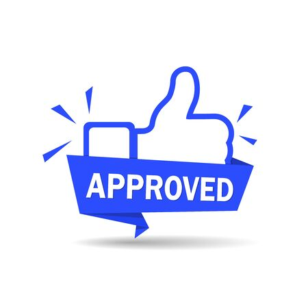 Approved icon. Blue label accepted with thumb up. Sticker, ribbon thumb up on isolated background. Badge tested and validated. Approve label in flat style. isolated vector illustration eps10 Иллюстрация