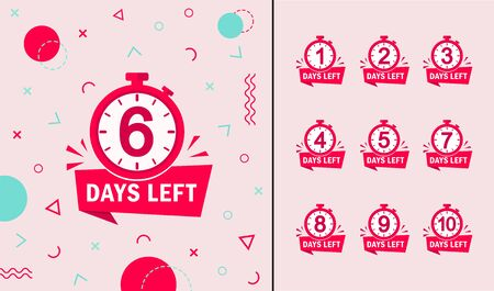 Memphis geometric background with number days left countdown 1, 2, 3, 4, 5, 6, 7, 8, 9. Design template for post, blog of social network, media. Flat isolated layout with timer countdown. vector eps10 Фото со стока - 138969659