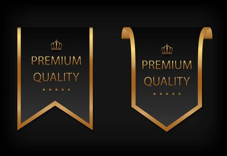 Luxury, premium quality label with golden frame, stars and crown. Premium, exclusive, badge on certificate, royal award. Template banner, premium quality sticker for certificate, packaging. vector Иллюстрация