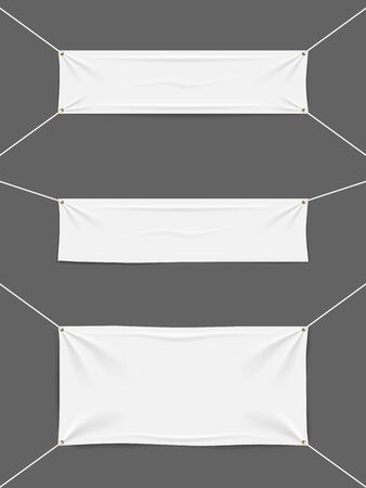 White blank mockup banner with rope and folds. Template textile hanging flag for sale. Empty stretched fabric, canvas, horizontal cloth on isolated background.