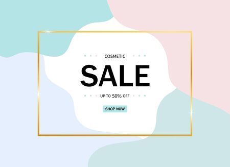 Sale promotion banner for cosmetic, makeup, voucher, ads. Pink layout with elegant gold frame for ads of social media, retail, poster. Invitation card of makeup. vector illustration Фото со стока - 138969740