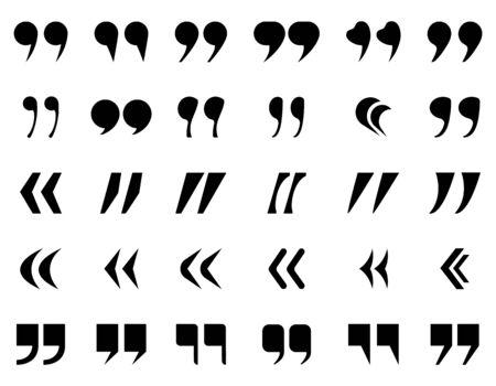 Les guillemets marquent l'ensemble de silhouette. Icône de citation noire, ponctuation de définition, double virgule pour le texte. Ensemble de guillemets de conversation. Marquage de citation pour bulle de dialogue, message.