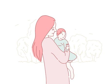 Happy mother hugs little baby. Mom with daughter on a walk. Mothers day concept in hand drawn style on isolated background. Mom take care of the kid. Baby in mother arms. Doodle vector illustration Иллюстрация