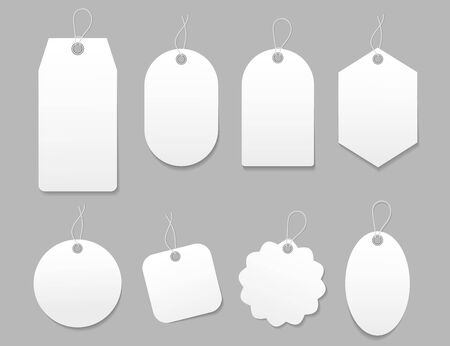 Mockup tag, paper label. Template blank tag for price shopping, hang sale, gift card. Luggage tag with cord. White paper labels with string for hanging. Blank sticker card for sale. Isolated vector