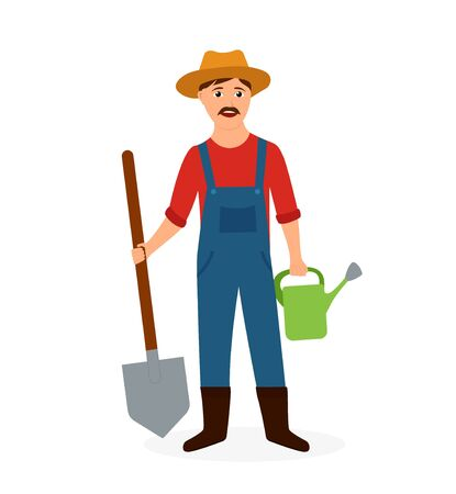 Happy cartoon farmer hold shovel and watering can. Agricultural worker with hat and mustache on isolated background. Flat farmer man. Gardener with tool. Rural worker. Cartoon vector illustration Фото со стока - 138969798