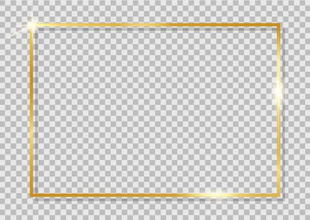 Gold shiny frame. Golden luxury realistic square border. Modern gold frame with shine oval on isolated background for celebration, card, christmas banner. Template of glow boarder for birthday. vector Иллюстрация