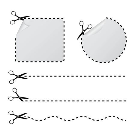 Cut with scissors in a dashed line. Cutout border with curl corner for paper sticker, tag, banner. Cutout line icon for sale, discount, promotion. Cutoff rectangle frame and circle of voucher. vector Иллюстрация