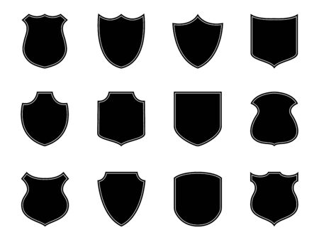 Police badge label. Military shield emblem. Security badge silhouettes. Flat football patch. Set of armor safety. Soccer badge isolated on white background. Police emblem or stamp. Design vector
