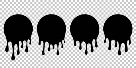 Dripping paint silhouette. Current liquid stains. Dripping spots of sauce, milk, blood, ink, oil, chocolate. Current blob round shape with drops. Melted circle shape icon. Liquid drips dessert. vector