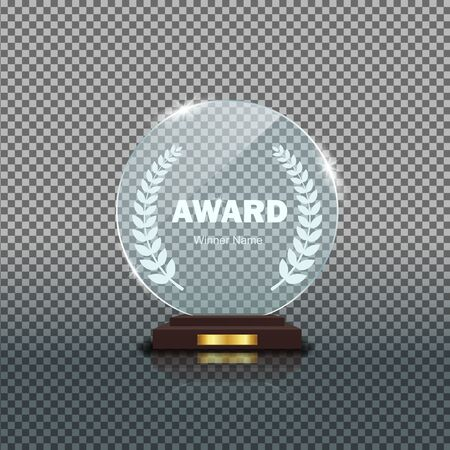 Round glass trophy award. Acrilic blank crystal prize on isolated background. Round glass award cup for winner. Realistic pedestal for achievement winner. Trophy base panel. Design transparent vector