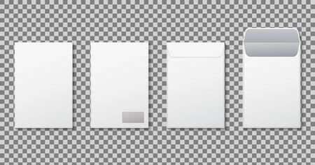 Vertical envelope A4 mockup. Template paper letter, folder. White blank letter envelopes C4, a3, a5 size. Open vertical, closed envelope mockup for mail. Set paper envelope of front, back side. vector