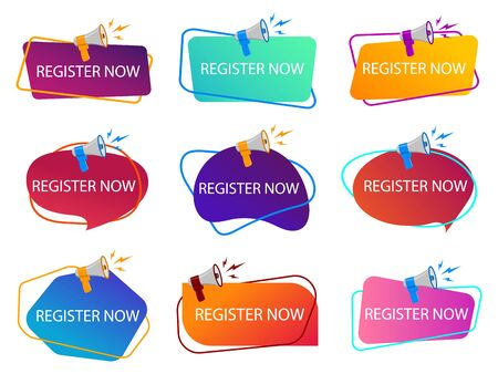 Register now with megaphone. Loudspeaker with title of registration now. Subscribe today tag. Register now banner for book. Online apply registration. poster with megaphone. vector isolated Иллюстрация