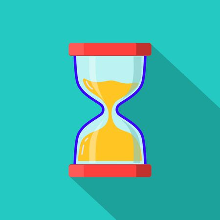 Hourglass flat vector icon. Countdown of time on sand glass. Timer count down on cartoon sand clock. Deadline concept on isolated background. Sand clock of time icon.