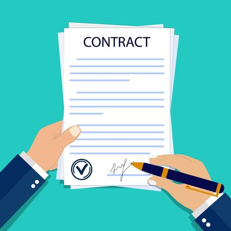 Man hands with paper contract. Obligation signature of contract on form document. Legal signature of treaty in flat style. Businessman signs official document. Hand signs contract. vector illustration