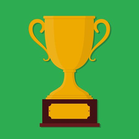 Trophy cup for awarding champion. Flat gold cup for win. Prize icon for reward. Winner goblet of championship. Trophy cup of first place. Sport goblet symbol isolated. design vector illustration
