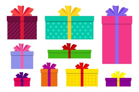 Gift boxes, presents isolated set vector. Flat surprise box with bows on holiday. Set of giftbox, present icon for birthday, christmas, valentine, women's day. Wrap package decoration. vector design Иллюстрация