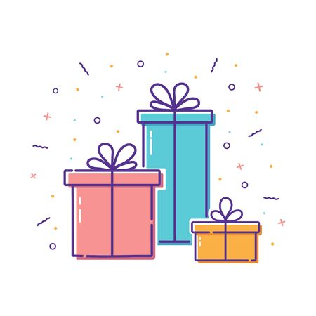 Gift boxes with bows with confetti, firework for surprise present. Hand drawn icon, line style gift for happy event. Flat illustration of gift box on valentines day.