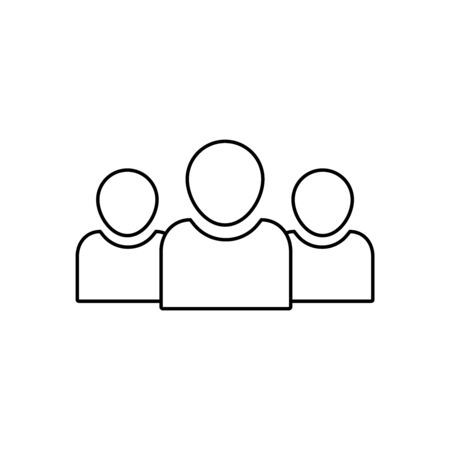 Team people vector line icon. Squad of people outline icon. Community business concept. Social unity or diversity symbol. Flat simple squad team . Club unity people. vector isolated background Иллюстрация