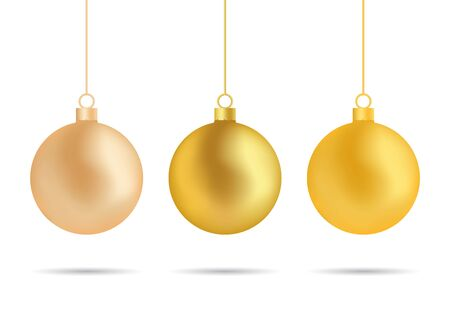 Christmas golden ball, tree toy ornament decoration. Christmas bauble isolated on white background. 3d glass sphere for hanging on christmas tree. Golden ornament for winter celebration. design vector