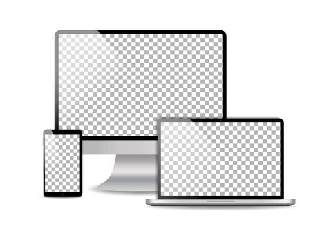 Computer, laptop, mobile phone mockup with blank screen. Set of device template with pc, smartphone, notebook isolated on transparent background. Design layout digital electronic technology. vector Illustration