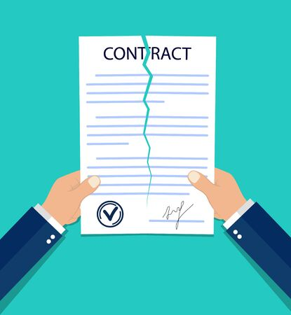 Violate of a contract. Hands breaking a paper contract in flat style. Termination job concept. Tearing business document. End finance deal. Businessman violated official document. vector isolated Иллюстрация