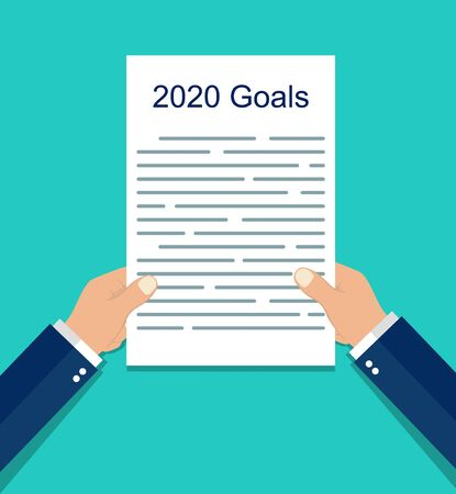 Goals 2020. Resolution list, goal checklist, plan in hand. Resolution on sheet, notebook. Personal growth concept. Development target of identity. Purpose of life on paper. vector isolated background