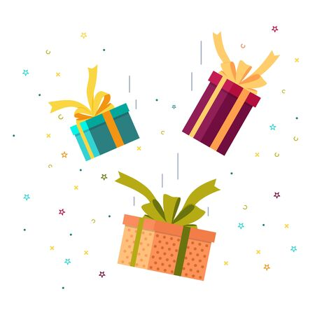 Falling gifts with bows and firework. Falling down surprise box for happy event. Flat gift box icon for sale, award. vector giftbox with ribbon. Design illustration of happy flying gift on birthday Фото со стока - 138969899