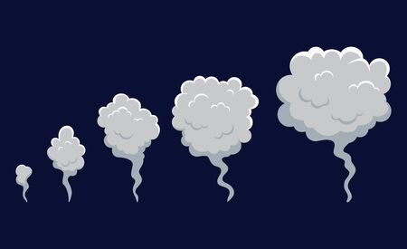 Smoke cloud explosion for animation. Cartoon cloud of fire, dust puff from speed motion, blast of bomb.Set shape of cloud in flat comic style. Toxic gas bubble. Design isolated vector illustration Фото со стока - 138734479