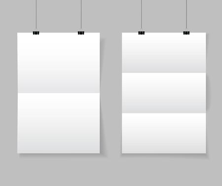 Realistic white blank paper format A4 in mockup style. Empty blank paper sheets hanging on binder clips. Poster hanging on a rope with clips on transparent background. vector illustration Фото со стока - 138734488