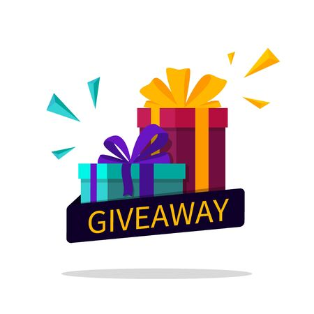 Giveaway winner flyer. Gift box with ribbon for contest win. Gift for announcement of win poster. Competition banner and give away text for media post, story. Quiz design template. vector illustration