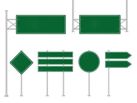 Set of green road traffic signs. Direction plate for street. Blank signboard, signage forhighway, information panel. Template road sign, signpost of location. Mockup signboard. Design vector eps10