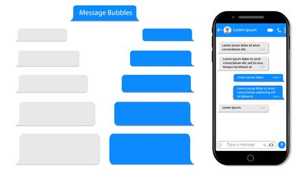 Message speech bubble for text on phone. Mockup sms chat, conversation for mobile. Smartphone chatting with text box. Chat bubble UI. Messenger template isolated background. design vector illustration