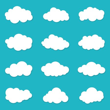 Cartoon cloud of sky on blue background. Graphic heaven in flat style. Set of overcast cloudy. Set icons of cloud bubble shape. Creative white clouds form for message. Isolated vector illustration