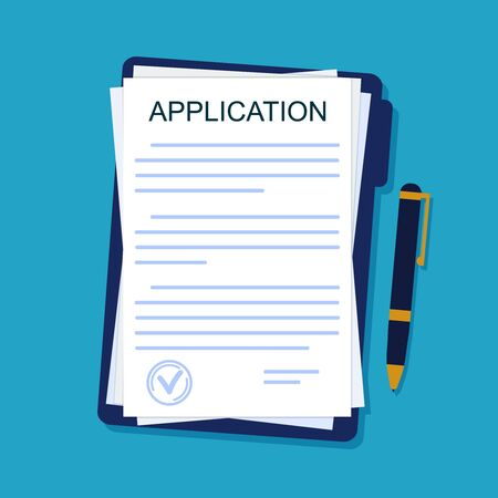 Application form on paper sheet. Agreement document in flat style. Legal paperwork with pen on isolated background. Insurance concept. Apply on job. Report submission. Design vector illustration Иллюстрация