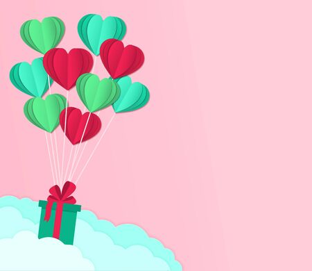 Falling gifts wtih ballon hearts for valentines day. Happy day card on paper cut, origami style. Greeting decoration of hearts for love background. Birthday banner. Travel flyer. vector illustration