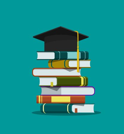 Stack of books, graduation cap. Education concept. Graduation hat on pile of book on isolated background. Success learning of school. Flat literature of library, dictionary, novel. vector illustration