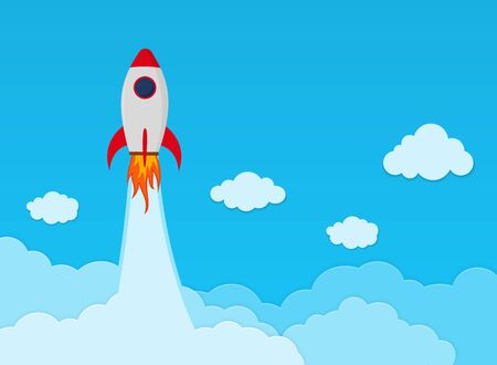 Rocket launch on space in flat style. Space ship startup in sky. Business concept banner. Travel creative background. Science innovation report. Space shuttle lift off on cloud. vector illustration