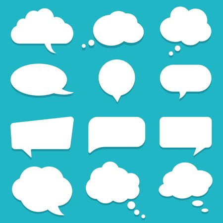 Set of speech bubble, textbox cloud of chat for comment, post, comic. Dialog box icon, message template. Different shape of empty balloons for talk on isolated background. cartoon vector illustration Ilustrace