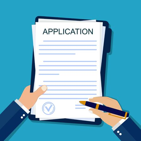 Application form on paper. Hand signs agreement document in flat style. Legal paperwork on isolated background. Insurance concept. Apply on job. Report submission from businessman. vector illustration