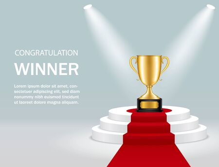 Round podium with trophy cup and spotlight for winner. Realistic pedestal with gold trophy, lights, red carpet for congratulation. Winner competition on scene on blue background. Vector illustration