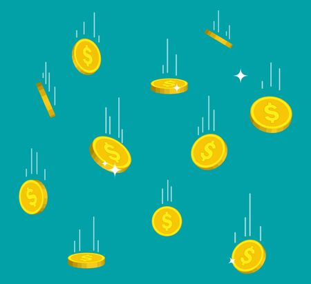 Falling gold coins in flat style. Money rain from sky. Flying golden bitcoin on isolated background. Droping dollar income. Symbol wealth. Money investment in business. Falling currency. Design vector Ilustrace