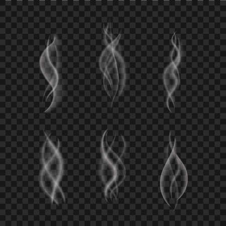 Smoke effect isolated. Steam from cup coffee, hot food. Realistic white vapor collection. Aroma swirl of tea. Mist effect. Flame of fire texture. Smoke motion on black background. vector illustration Ilustracje wektorowe